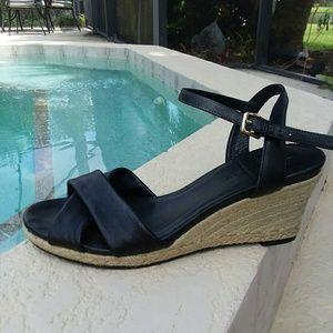 COLE HAAN Black Leather Espidrilles Heels